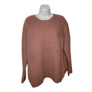 Dark Blush Pink Oversized Scoop Neck Sweater Large